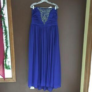 Lovely Blue Rhinestone Bodice Gown